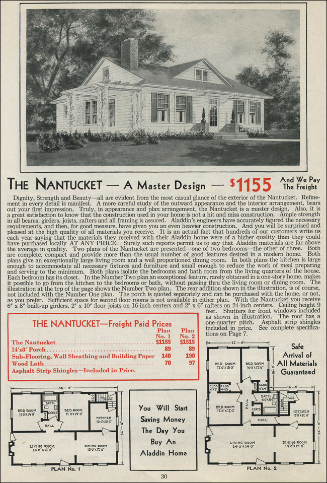 1931 Colonial Revival Single Story Cottage Aladdin