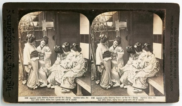 Japanese Ladies Admiring Flowers and Out for a Gossip. - Antique Photograph from 1905