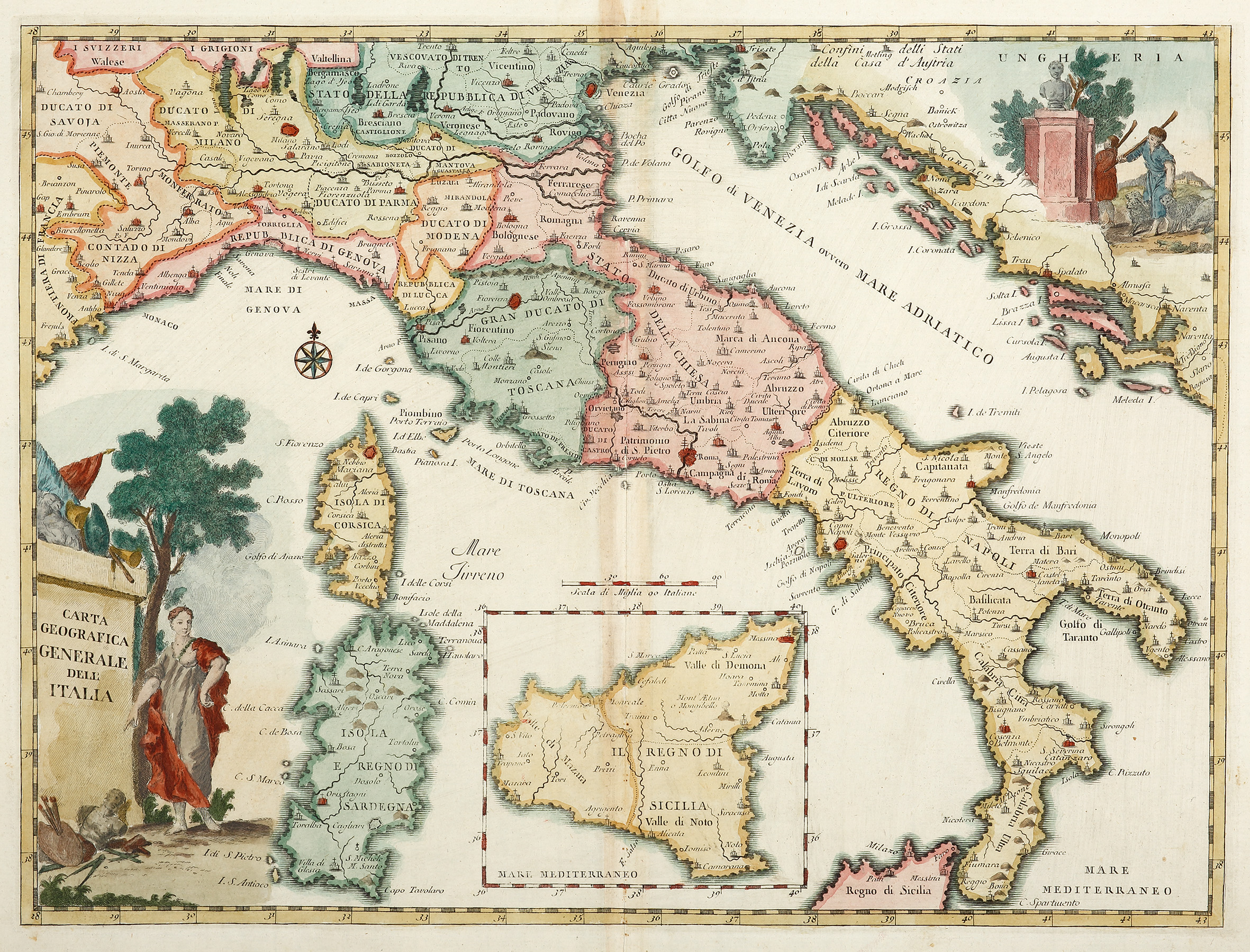 Cartina Geografica Italia 2017.Carta Geografica Generale Dele Italia Antique Print Map Room