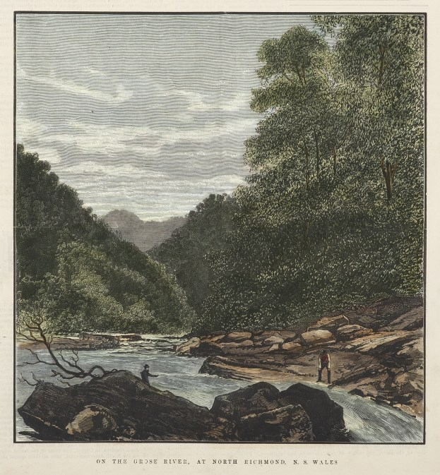 On the Grose River, At North Richmond, N.S. Wales - Antique View from 1885