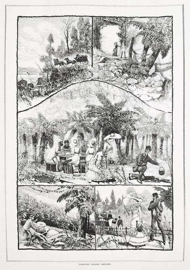 Tasmanian holiday sketches. - Antique Print from 1884