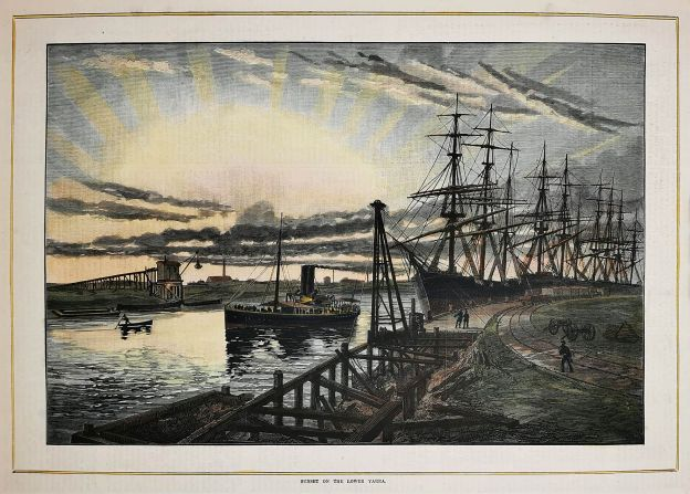 Sunset on the lower Yarra. - Antique View from 1884