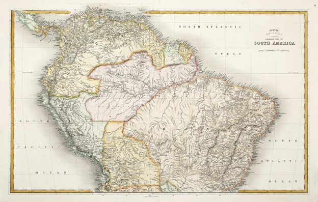 SOUTH AMERICA-Bett's Family Atlas Northern Part of South America. - Antique Map from 1848