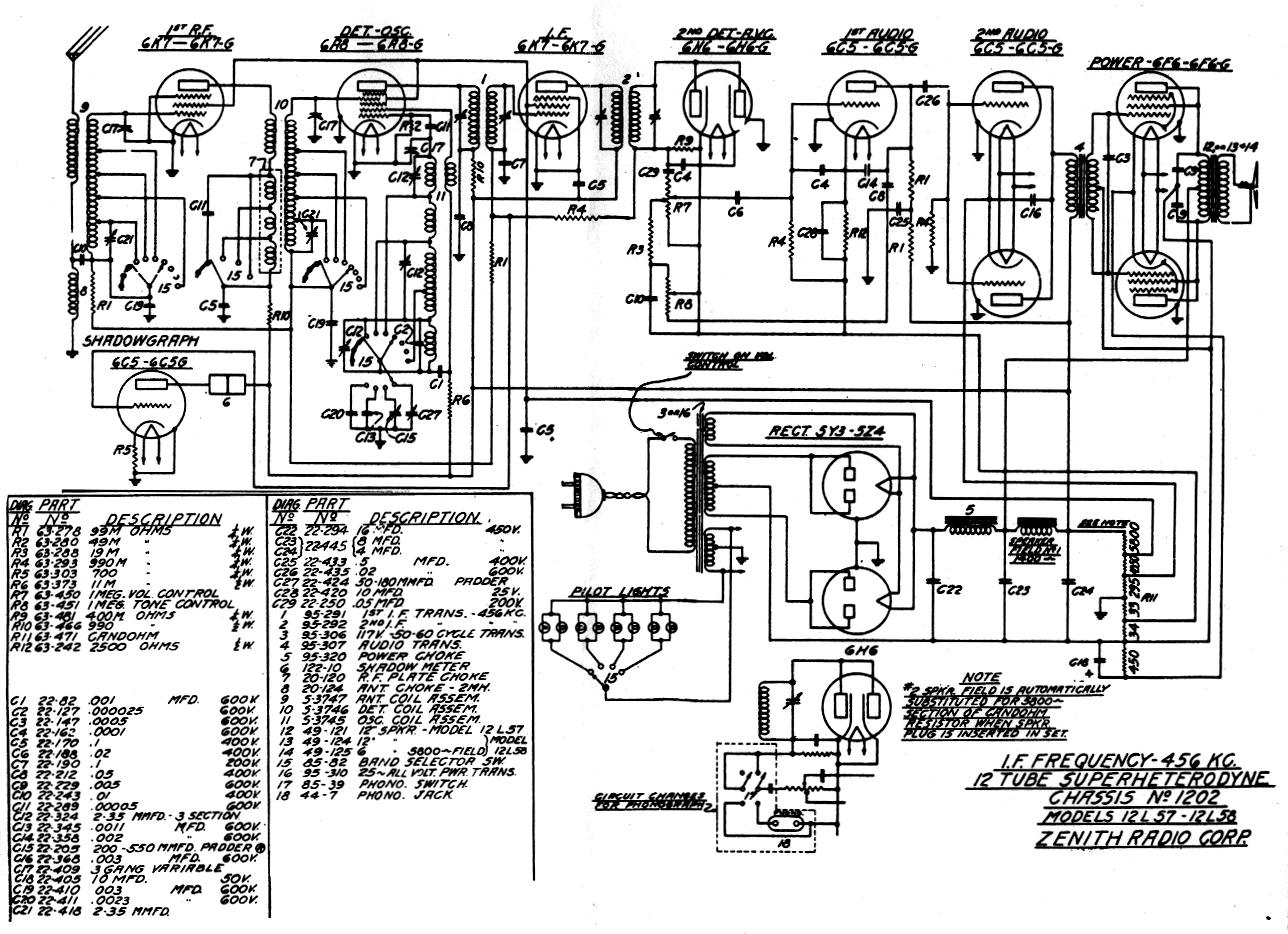 Zenith Radio M730w Diagram