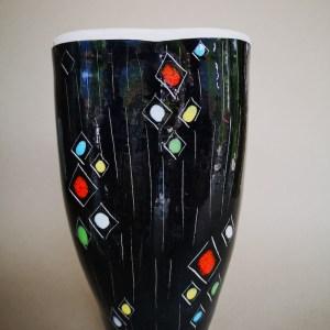 bitossi vintage vase in black enamels