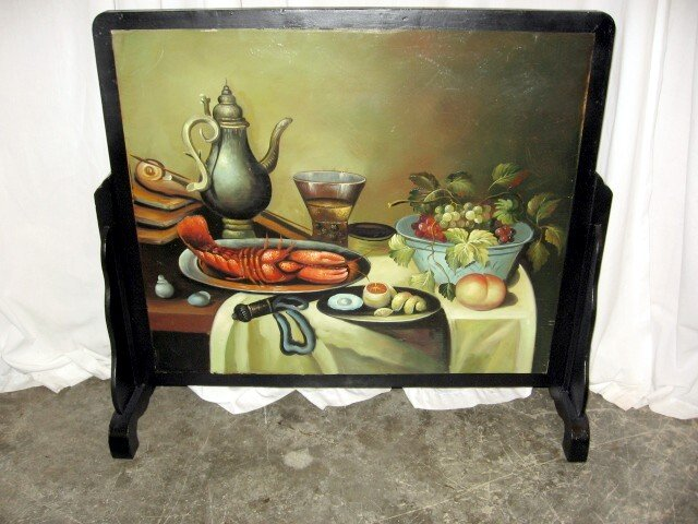 Great Looking Hand Painted Fireplace Screen 25 X 28 For