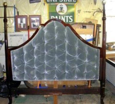 Custom Upholstered Mahogany Kingsize Headboard