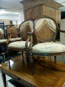 Antique ebonized and gilded salon suite