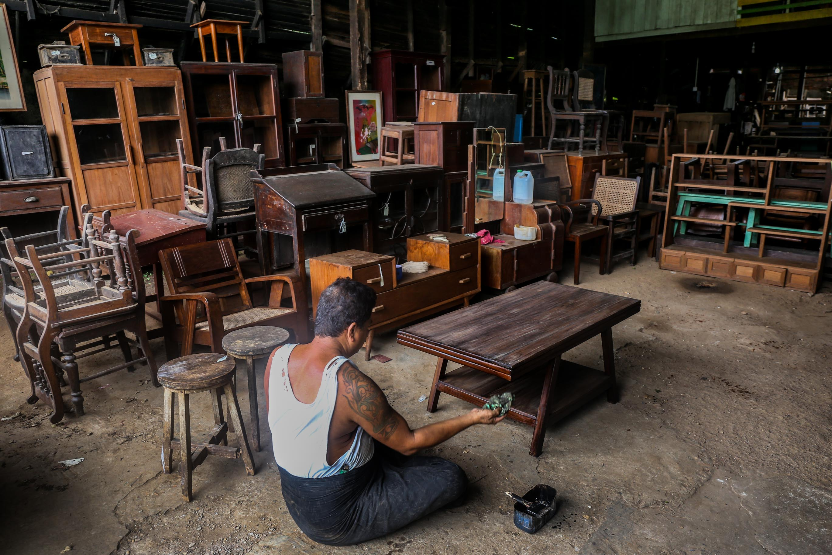 Colonial-era Teak Furniture Restoration in Yangon, Myanmar (Burma) Asia Antiques Buying Tours with The Antiques Diva