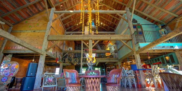 The barn serves as Rancho Pillow's de facto great room, gathering spot and mess hall