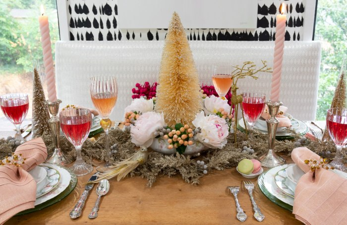 Lolo French Antiques.tablescape.centerpiece | bottlebrush tree | The Antiques Diva & Co