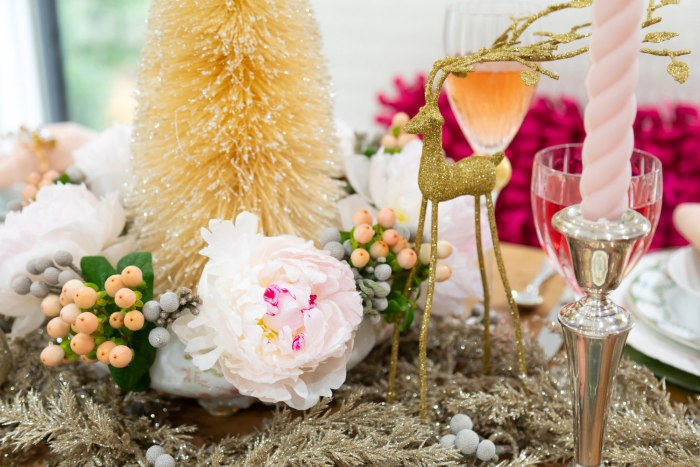 Wonderful Christmastime Ladies Brunch | fresh flowers peonies | The Antiques Diva & Co