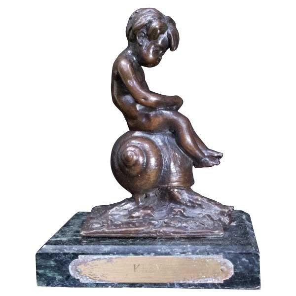L.Kley 「カタツムリに乗る少年」ブロンズ像