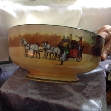 Rare Royal Doulton Coaching series bowl measuring 26.5cm in diameter.