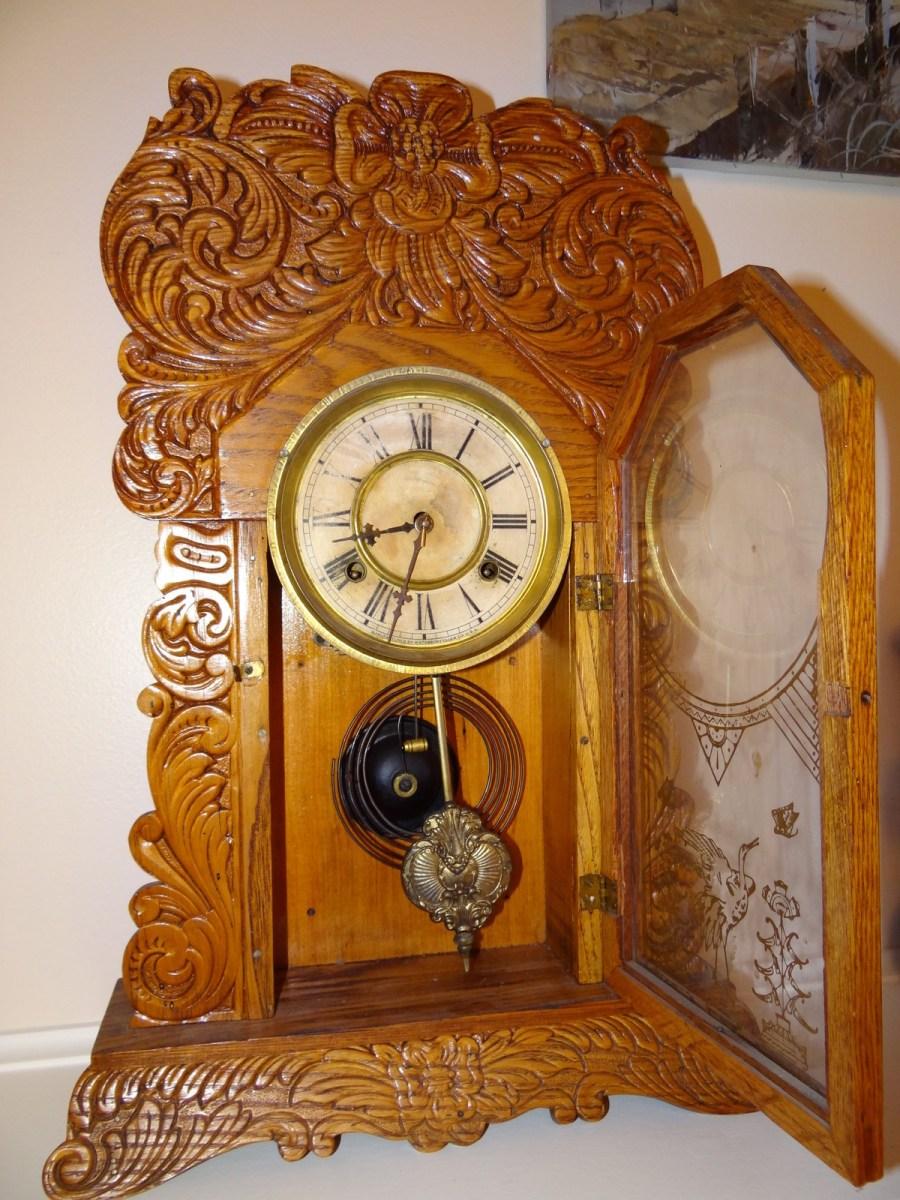 antique waterbury mantle oak gingerbread clock 3