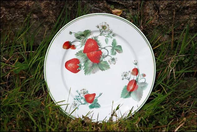 Assiette porcelaine de Limoges décor aux fraises