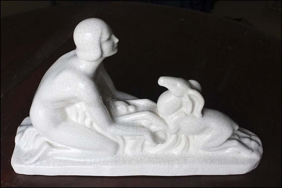 Statuette faïence craquelée art déco