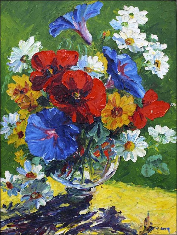 Huile bouquet de fleurs