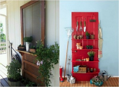 Garden-decorations-ideas-Old-doors-shelves-Garden-Tools