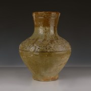 Han Green-Glazed Vase with Relief Decoration