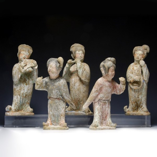 Miniature Tang Dynasty 'Fat Lady' Musicians & Dancers