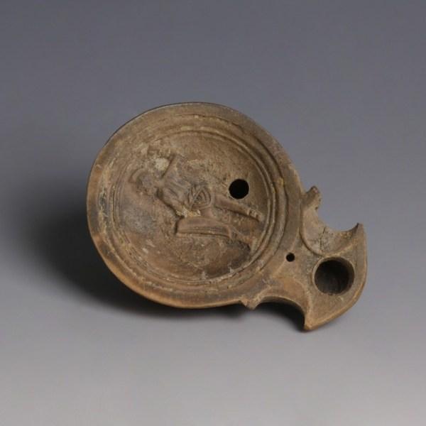 Roman Lamp With Gladiator Figure