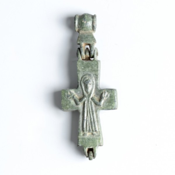 Beautiful Byzantine Bronze Reliquary Cross