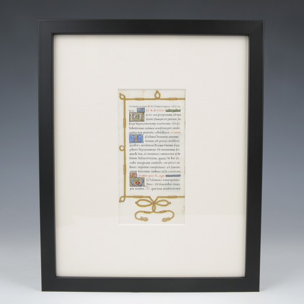 Decorated Manuscript Vellum Leaf