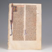 Medieval Bible Leaf with Generations of Adam