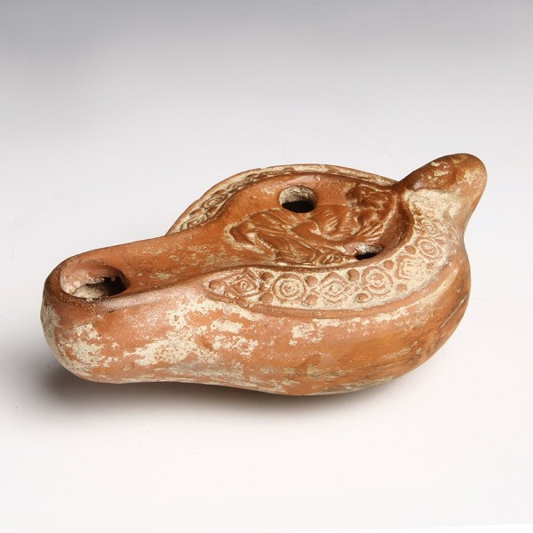 North African Roman Oil Lamp with a Young Woman