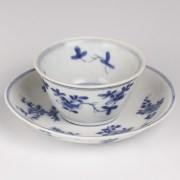 Blue and White Saucer and Cup Set with Floral Decoration
