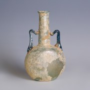 Roman Glass Pilgrim Flask with Blue Handles
