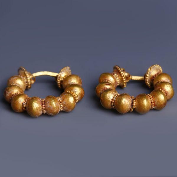 Ancient Greek Gold Hoop Earrings with Granulation