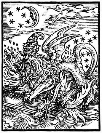 這幅十六世紀的木刻被M‧P‧霍爾(M.P. Hall) 指為沙羅曼達Salamander_(Paracelsus)