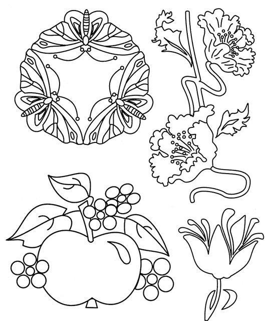 Бабочки, цветы, ягоды, яблоко Раскраски антистресс фото
