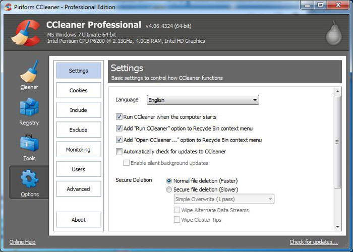 CCleaner interface