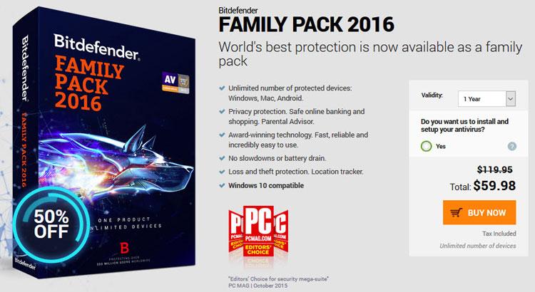 Bitdefender Family Pack 2016 coupon