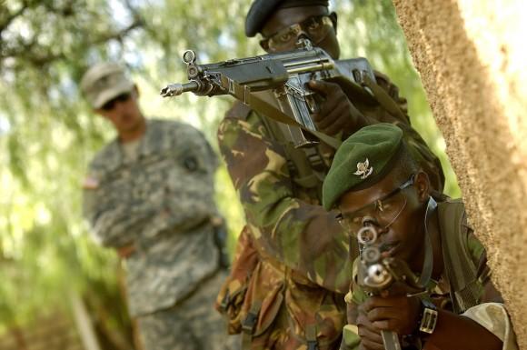 U.S. Army Spc. Tyler Meehan observes Kenyan trainees