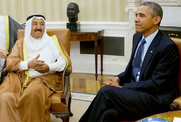 Obama meeting with the Kuwaiti Emir, Shaikh Sabah