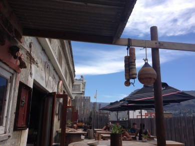 Bay Harbour Market in Hout Bay: sitting outside.