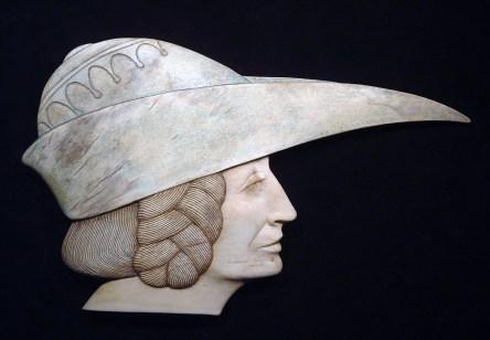'Bird Beak Hat' (carved moose antler and colour) by Maureen Morris