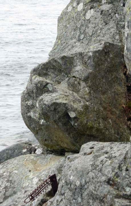 Stenansikte i berget