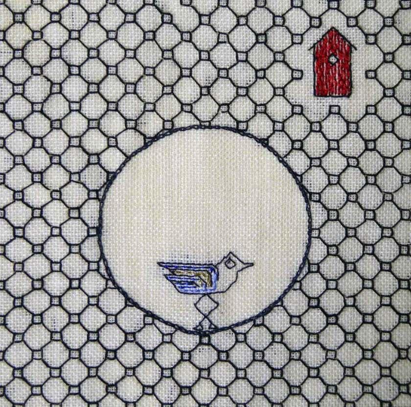 Lilla fågeln, 15x15 cm, Fritt broderi Svartstick, ref B1811