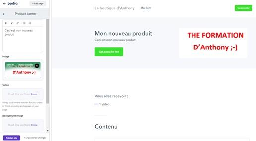 créer une page de vente en ligne avec podia section product banner