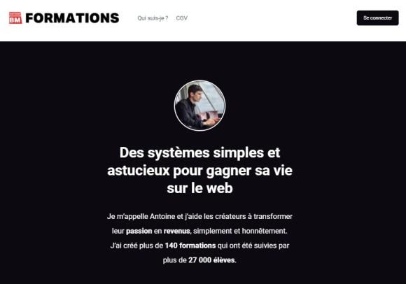 page pour vendre des produits en ligne antoine bm