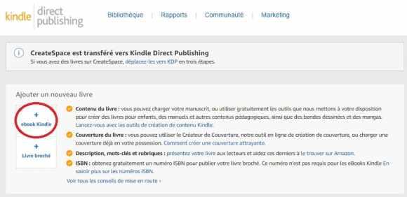 ajouter un nouveau livre ebook kindle direct publishing