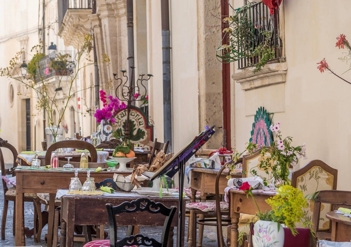 Outside dining in Ortigia Syracuse, Sicily