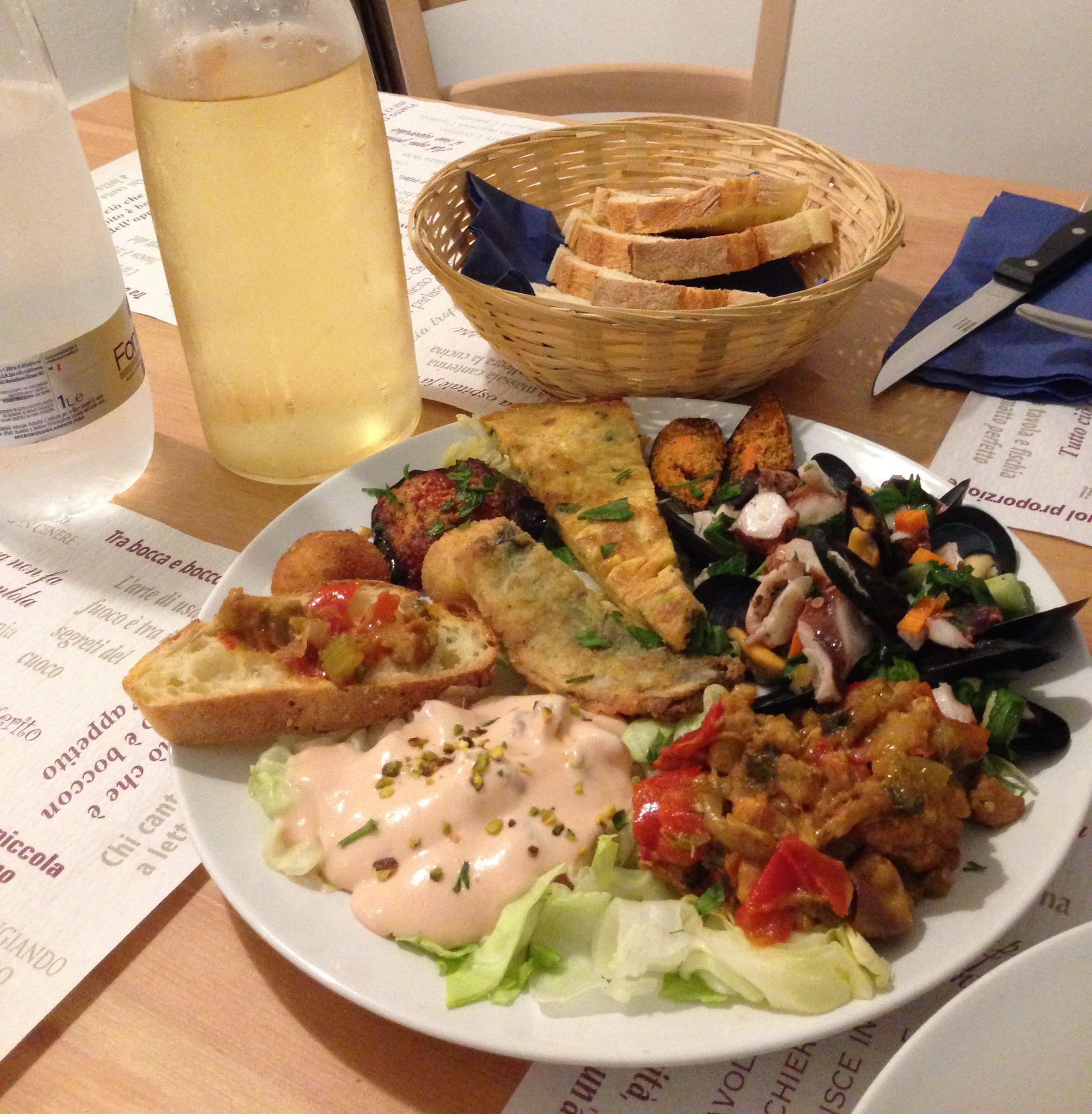 Sicilian Starter Plate: pannelle, brushetta, caponata and more