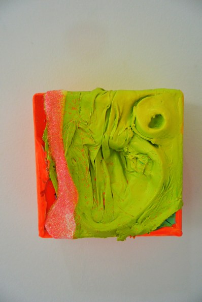 Amphibomoeba 2016 Glazed, oil and acrylic on wood 110 x 100 mm