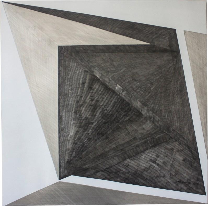 Hinge, 2016, Enamel, graphite, aluminium, 1000 x 1000mm